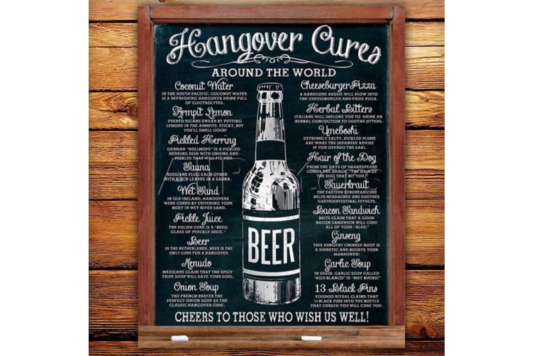 Hangover Cures Around The Globe Tin Sign   hang over cure metal remedy