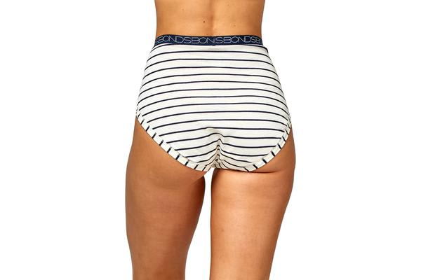 Bonds Women's Cottontails Full Brief (Cream/Navy Stripe, Size 18)