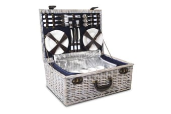 Alfresco 6 Person Wicker Picnic Basket and Cooler Bag (Navy/White)