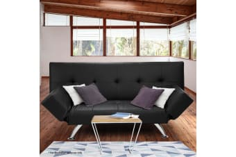 Brooklyn 3 Seater Faux Leather Sofa Bed Lounge - Black