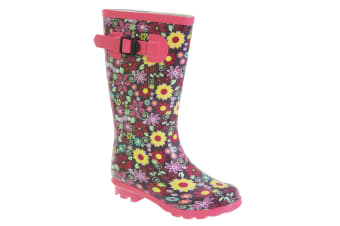 StormWells Girls Strap Wellingtons (Pink/Mulberry)