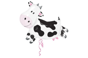 Amscan Supershape Cow Shaped Foil Party Balloon (White/Black) (One Size)