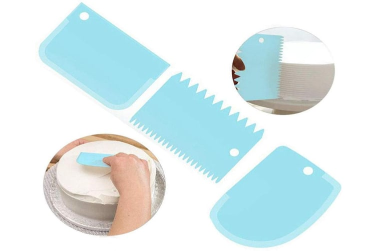 DIY Scraper Cream Scraper Set Cake Mold Tool 3PCS(BLUE)