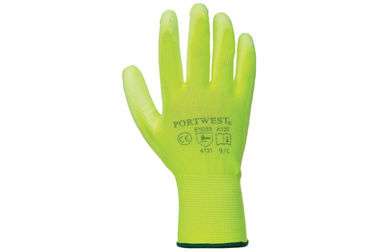 Portwest PU Palm Coated Gloves (A120) / Workwear (Pack of 2) (Yellow) (M)