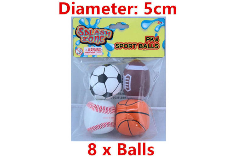 8 x Mini Sports Ball Toy Kids Gift Party Loot Favour Football Baseball Basketball WM