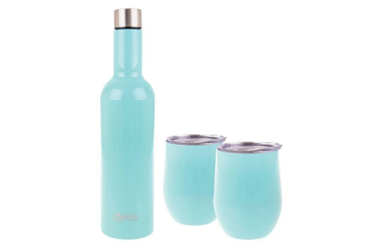Oasis Stainless Steel Double Wall Insulated Wine Gift Set of 3 Spearmint