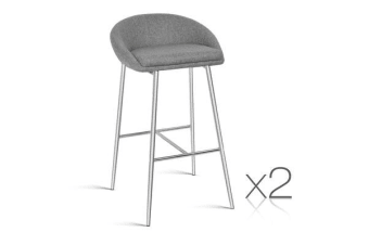 Set of 2 Fabric Bar Stool (Grey)