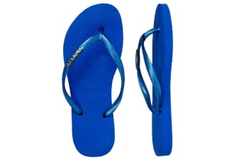 Havaianas Slim Logo Metallic Thongs (Blue Star, Brazil 35/36)