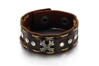 Genuine Leather Wrap Bracelet 9-Leather/Brown