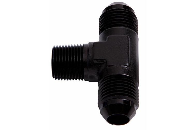 """Aeroflow Tee -6AN With 1/4"""" NPT On Sideblack An Tee With NPT On Side"""