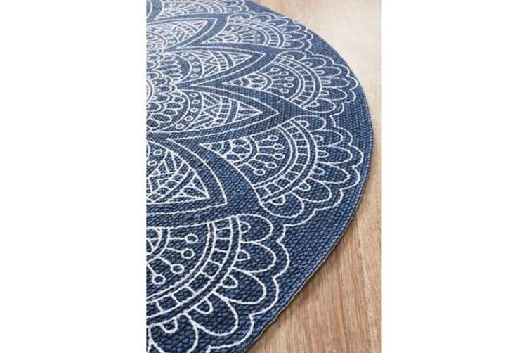 Blue Hand Braided Cotton Coastal Flat Woven Rug - 150X150CM