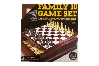 Cardinal Wooden Family 10 Classic Game Set Chess/Checkers/Mill w/ Storage/Case