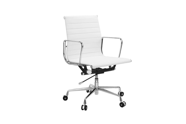 4 Pack Ergolux Executive Eames Replica Low Back Ribbed Office Chair (White)