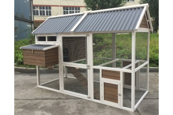 XXL Superior Farmhouse Chicken Coop with PVC Roof 240x172x168cm