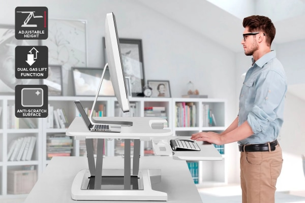 Ergolux Pro Height Adjustable Sit Stand Desk Riser (Small, White)