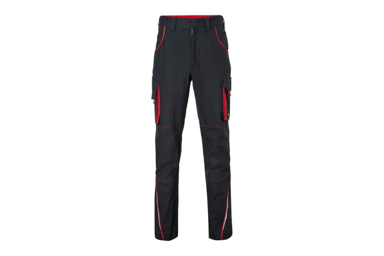 James and Nicholson Mens Level 2 Workwear Pants (Carbon Grey/Red) (38R)