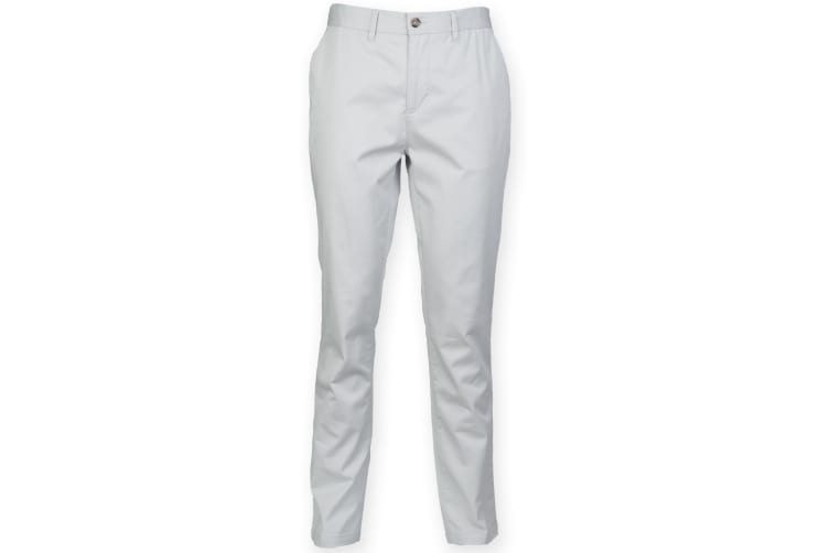 Front Row Mens Cotton Rich Stretch Chino Trousers (Light Grey) (30L)