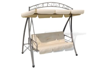 vidaXL Outdoor Swing Chair / Bed Canopy Patterned Arch Sand White
