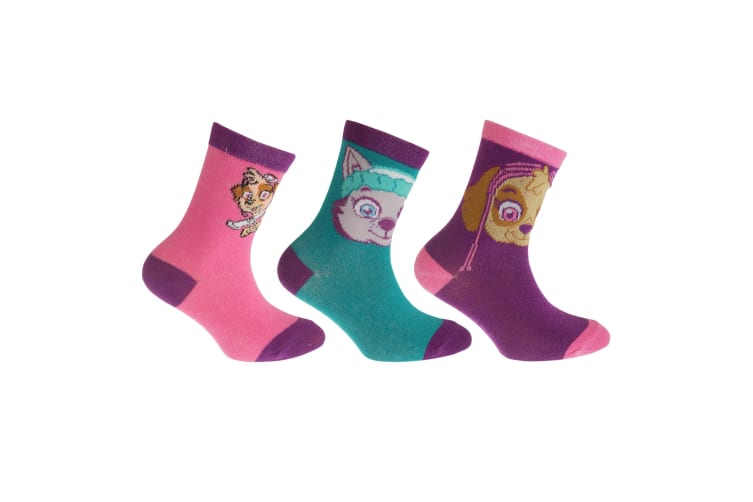 Paw Patrol Childrens Girls Official Cotton Rich Socks (Pack Of 3) (Teal/Pink/Lilac) (12.5 - 3.5)