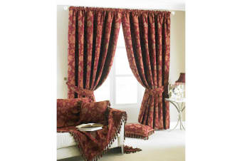 Riva Home Zurich Pencil Pleat Curtains (Burgundy)