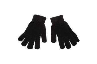 Womens/Ladies Chenille Thermal Magic Gloves (Black) (One Size)
