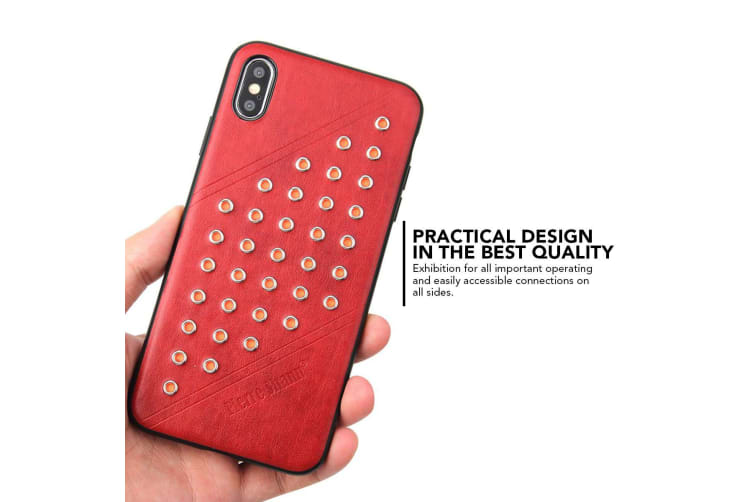 For iPhone XS MAX Cover Modish Light Leather Back Shell Phone Case Red