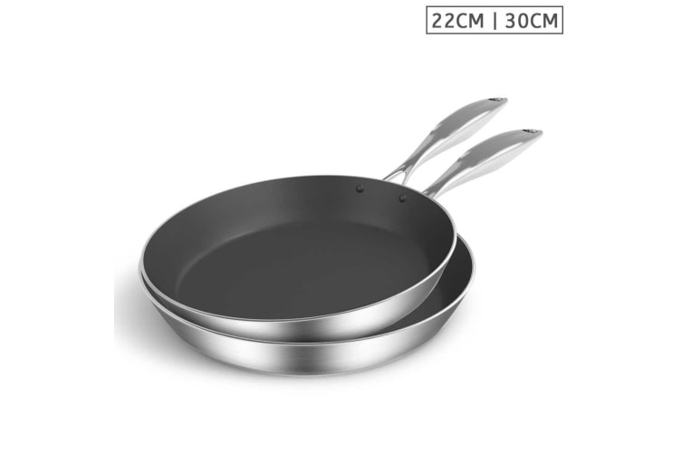SOGA Stainless Steel Fry Pan 22cm 30cm Frying Pan Induction Non Stick Interior