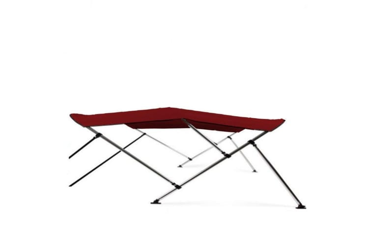 Kaiser Boating Low Profile 3 Bow 1.3-1.5m Bimini Top Boat Canopy - 85cm height - 180cm length - Burgundy - Complete kit includes Aluminium Frame + 600D Oxford Polyester Cover + Rear Poles + Sock