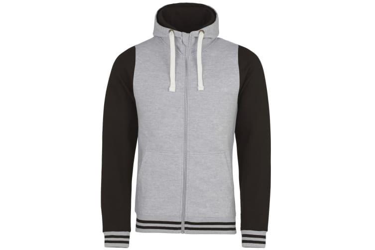 AWDis Just Hoods Adults Unisex Urban Varsity Full Zip Hoodie (Heather Grey/Jet Black) (S)