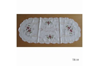 Cream Embroidered Doilies Table Runner TR10