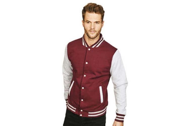 Casual Classic Mens Varsity Jacket (Burgundy/Sport Grey) (S)