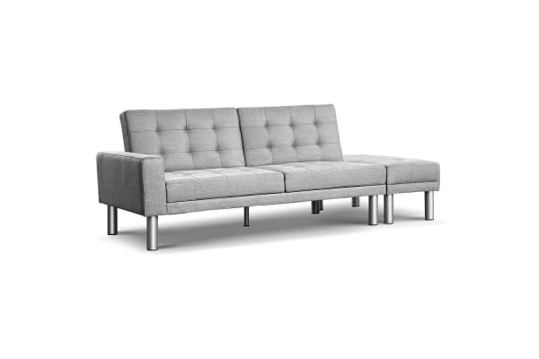 3 Seater Fabric Sofa Bed With Ottoman Grey