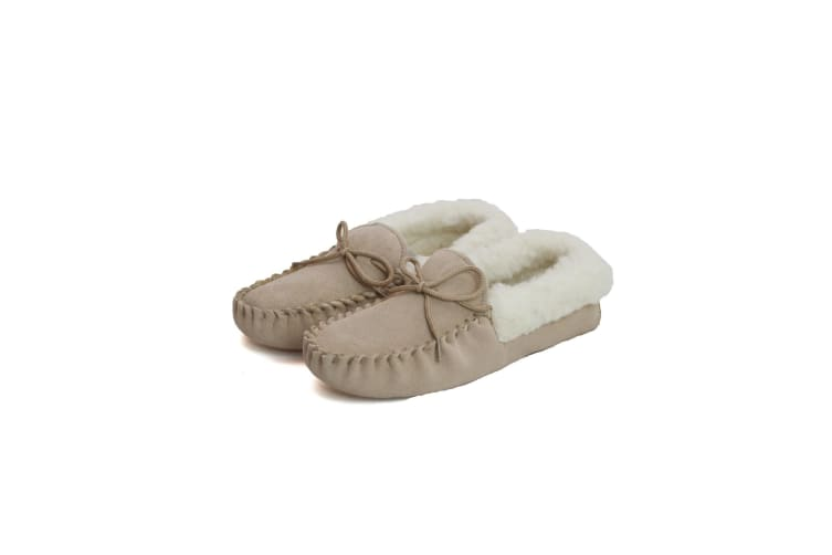 Eastern Counties Leather Womens/Ladies Soft Sole Wool Lined Moccasins (Camel) (7 UK)