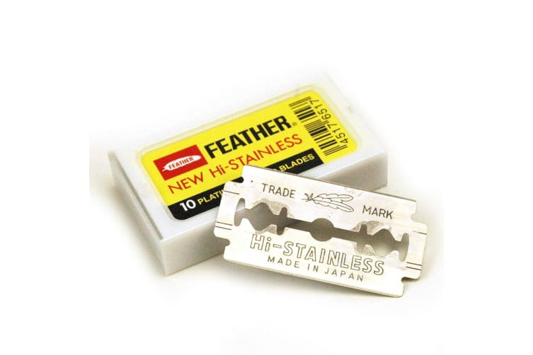Feather Hi-stainless Platinum Coated Double Edge Blades-10 Blades