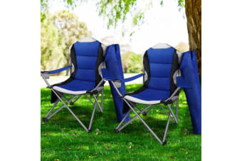 Weisshorn Set of 2 Folding Camping Arm Chairs Portable Outdoor Garden Fishing Picnic Vacation