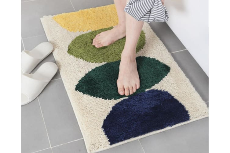 Living Room Floor Mat Simple Toilet Doorway Water Absorbent Anti-Skid Mat - Lemon Beige Yellow 45*65Cm
