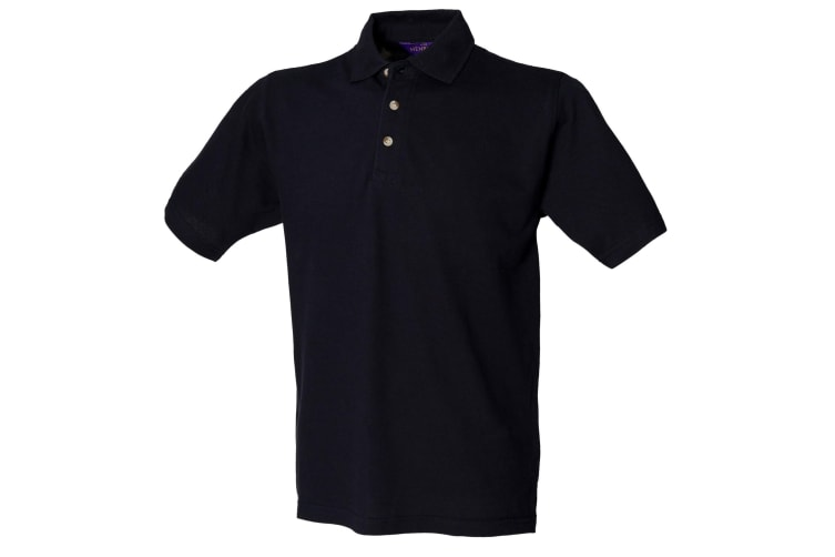 Henbury Mens Classic Plain Polo Shirt With Stand Up Collar (Navy) (XL)