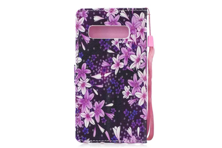 For Samsung Galaxy S10 Case Lily Pattern PU Leather Folio Cover