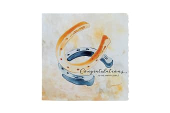 Deckled Edge Fanciful Dolomite Greetings Card (To The Happy Couple - Horseshoes (Amber/Blue))