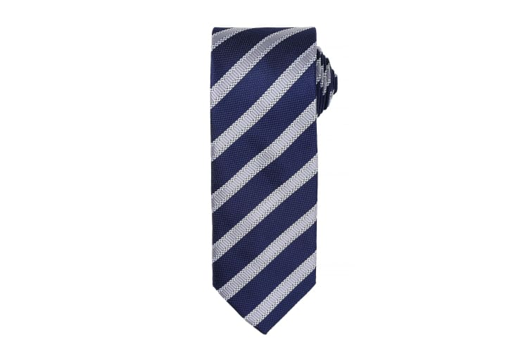 Premier Mens Waffle Stripe Formal Business Tie (Pack of 2) (Navy/Silver) (One Size)