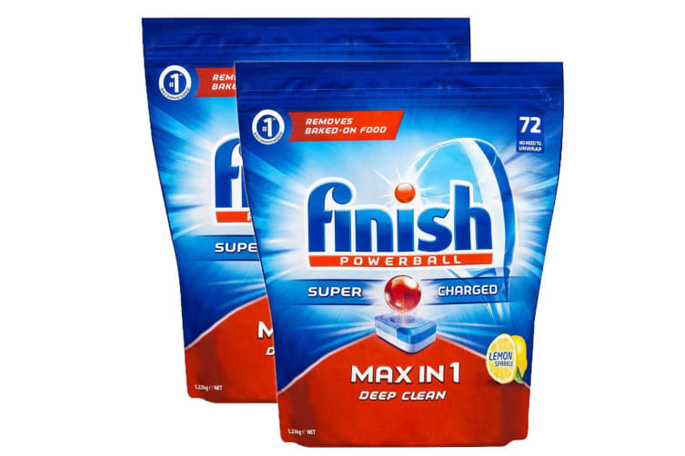 Finish 144 Tablets All in 1 Max Powerball Super Charged for Dishwashing/Dishes