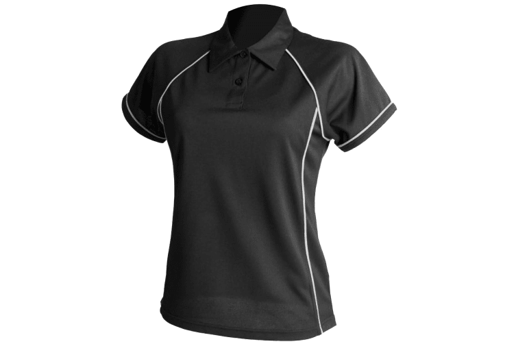 Finden & Hales Womens Coolplus Piped Sports Polo Shirt (Black/White) (2XL)