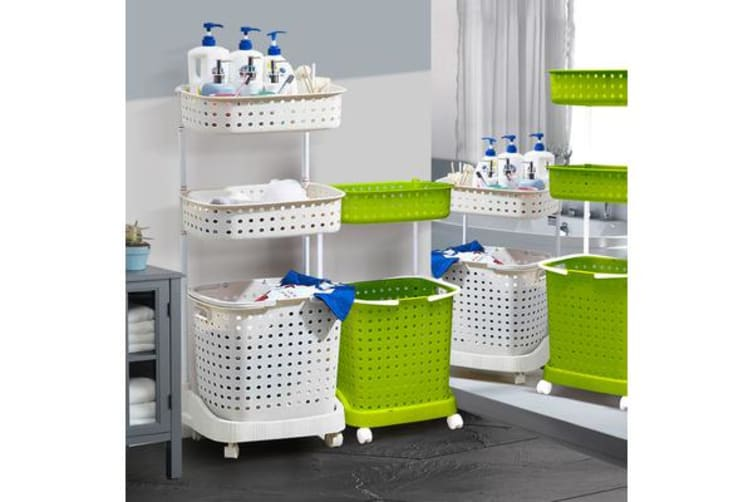 Bathroom Laundry Clothes Baskets Bin removable Shelf - GREEN
