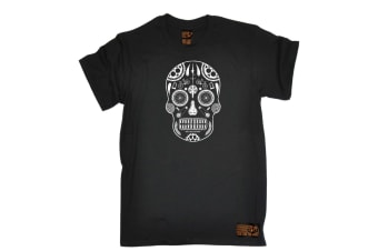 Ride Like The Wind Cycling Tee - Candy Skull Bike Parts - (5X-Large Black Mens T Shirt)