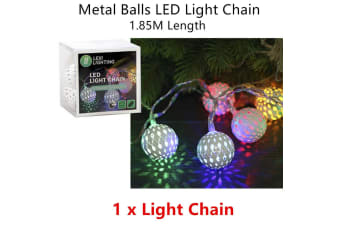 Metal Ball Color LED Timer Lighting Decor Party Indoor Chain Christmas Tree Home