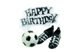 Creative Party Cake Topper Kit - Football Boots & Motto (Black/White/Silver) (One Size)