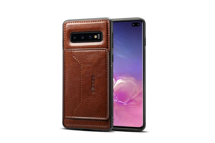 For Samsung Galaxy S10+ Plus Case Coffee Horse Texture PU Leather Wallet Cover