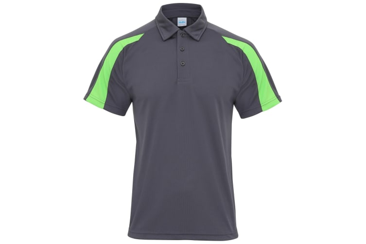 AWDis Just Cool Mens Short Sleeve Contrast Panel Polo Shirt (Charcoal/Lime Green) (M)