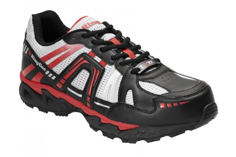 King Gee Men's Comp-Tec G14 Sport Safety Shoe (Black/Red, Size 6)