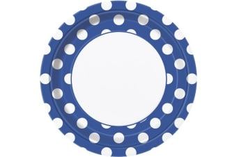 Unique Party Polka Dot Paper Plates (Pack Of 8) (Royal Blue/White)